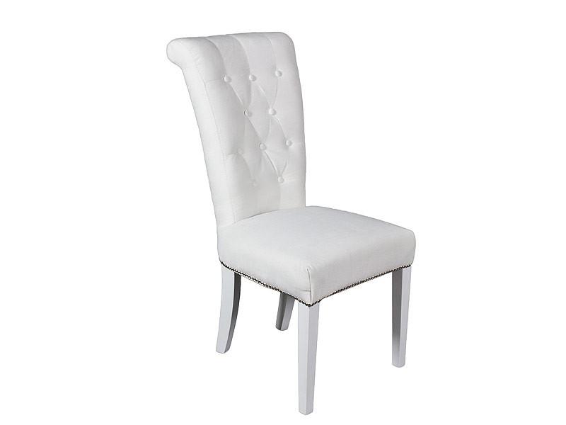 Silla blanca de lino y madera de pino sillas comedor for Sillas de comedor blancas modernas
