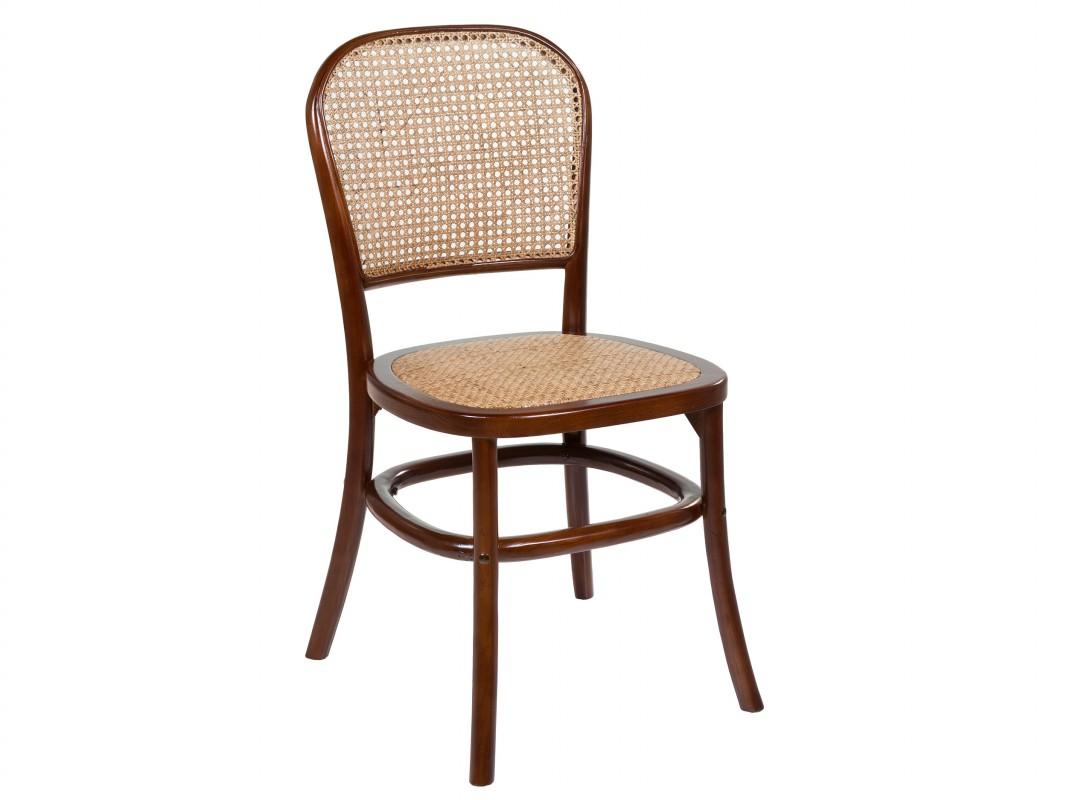silla madera ratan respaldo