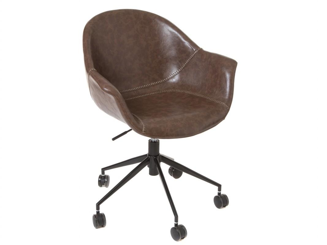 Silla oficina vintage marr n tapizada en polipiel con ruedas for Rueditas para sillas oficina