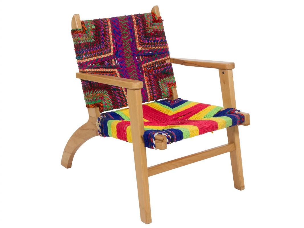 Silla de cuerda de colores estilo bohemio silla multicolor - Cuerdas de colores ...