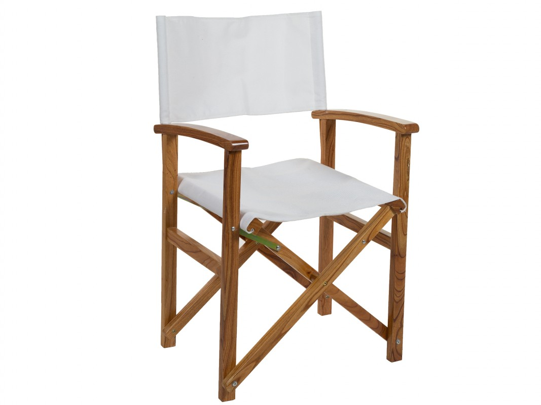 Silla director blanca de madera y tela comprar silla for Silla madera blanca