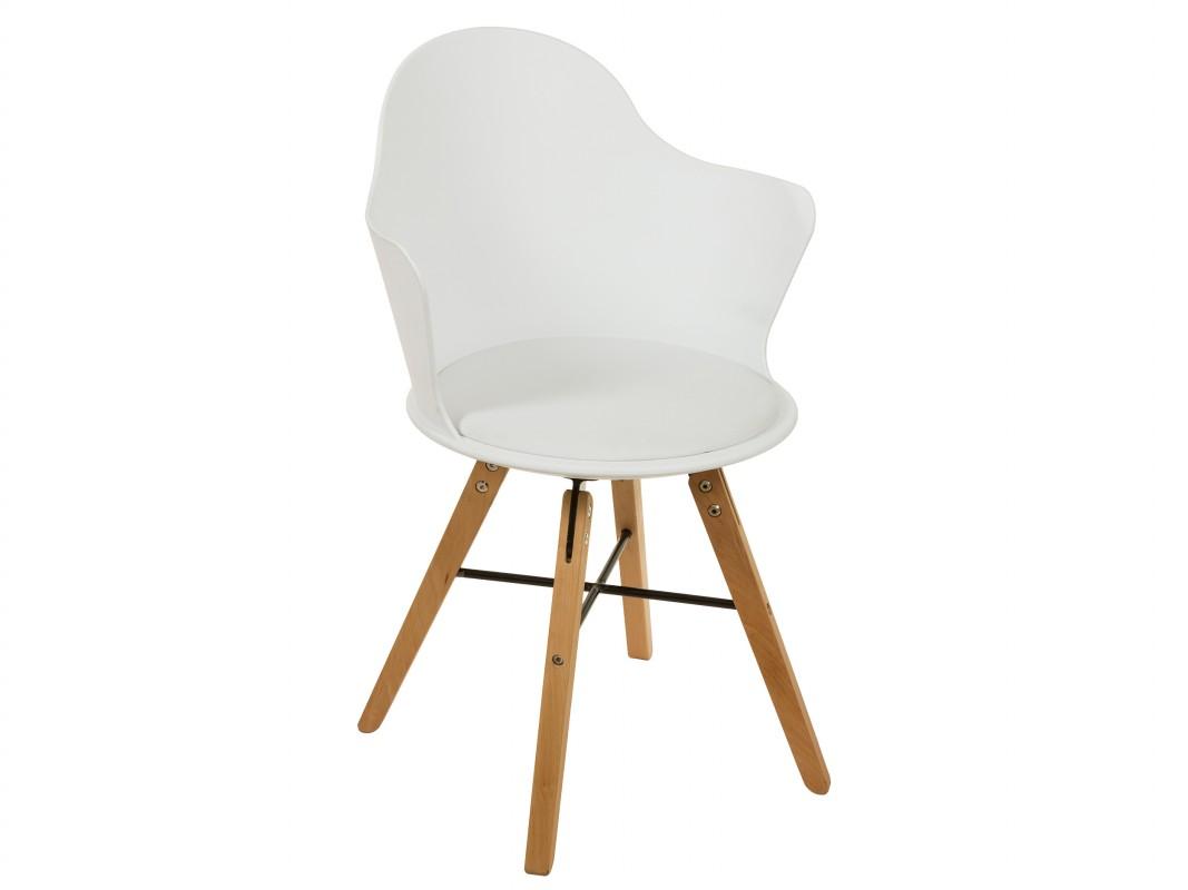 Silla de dise o blanca de policarbonato y polipiel con for Silla blanca patas madera