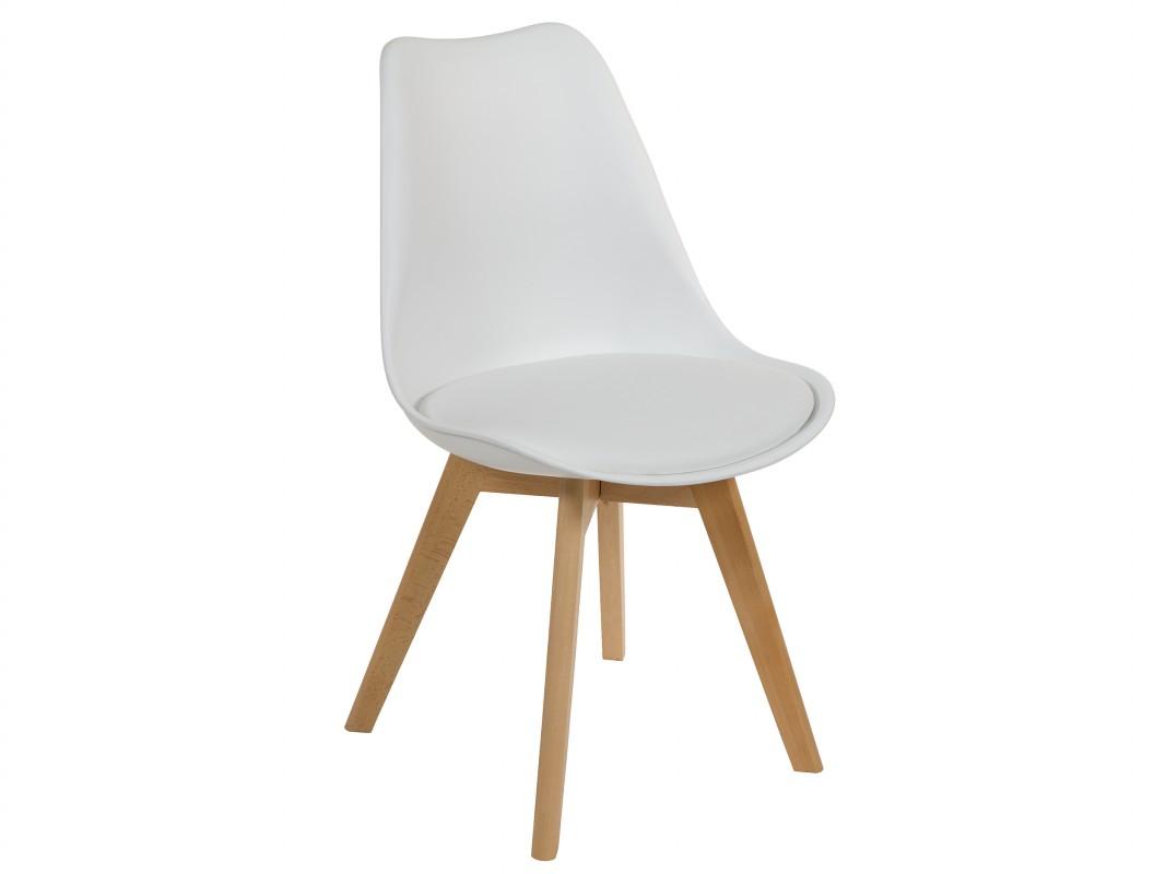 silla escandinava eames blanca de abs y madera de haya