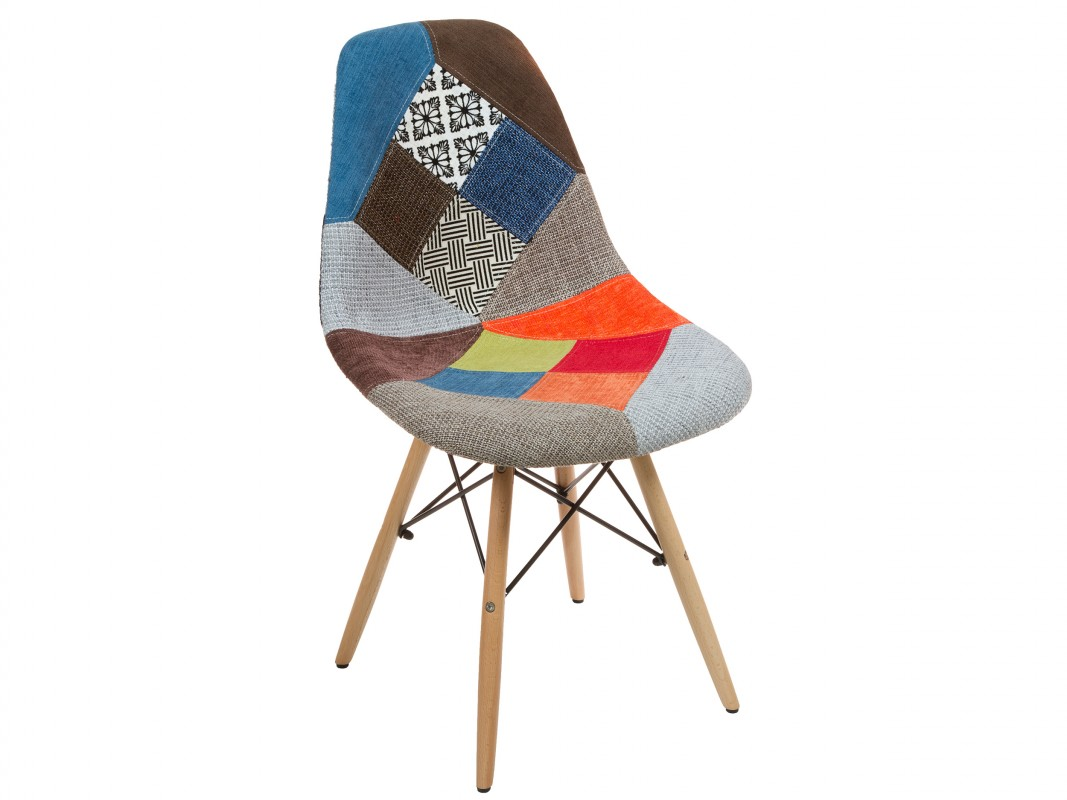 Silla eames tapizada patchwork venta online eames plastic for Sillas tapizadas estampadas