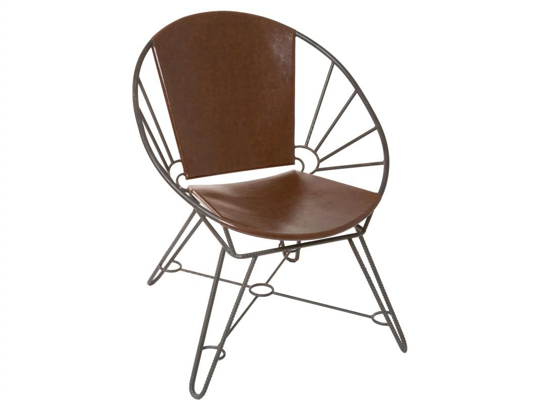 silla dise o industrial redonda de hierro y polipiel marr n