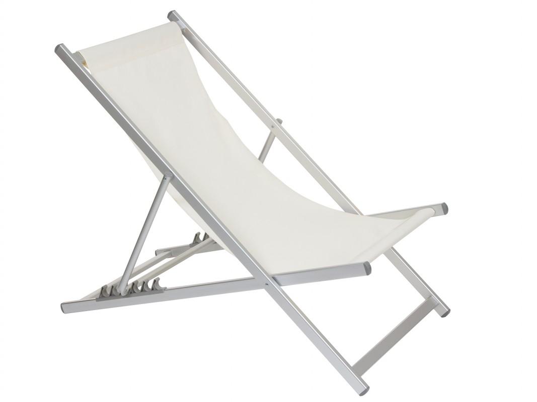 Silla reclinable jard n 5 posiciones de aluminio y tela for Sillas jardin blancas