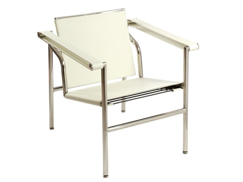 Silla blanca moderna de acero y polipiel con reposabrazos for Sillas de salon con reposabrazos