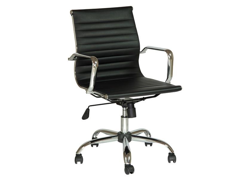 Silla de oficina cromada con asiento de polipiel for Sillas de polipiel