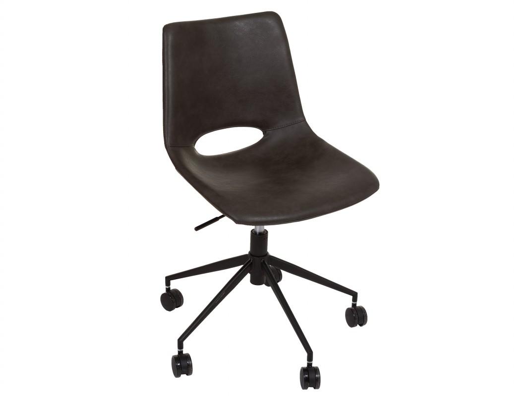 Silla oficina diseño polipiel con asiento regulable y ruedas