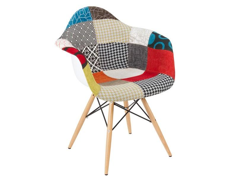 Silla patchwork con patas de madera de haya butacas for Sillas comedor patchwork