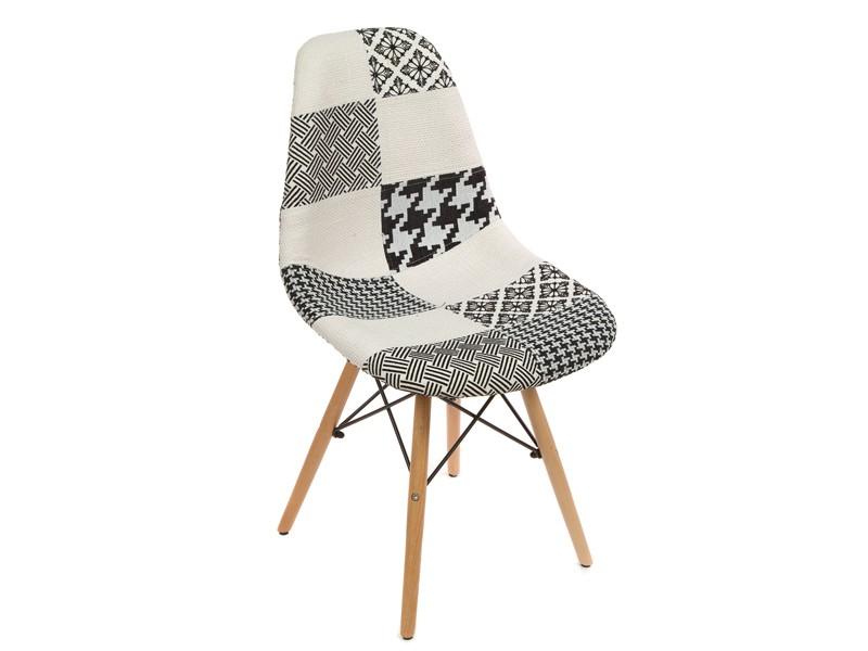 Silla eames tapizada patchwork blanco y negro venta online for Sillas tapizadas estampadas