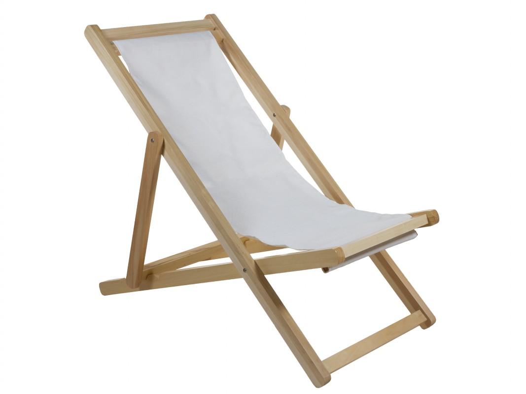 Silla reclinable exterior de madera y tela - Silla terraza reclinable