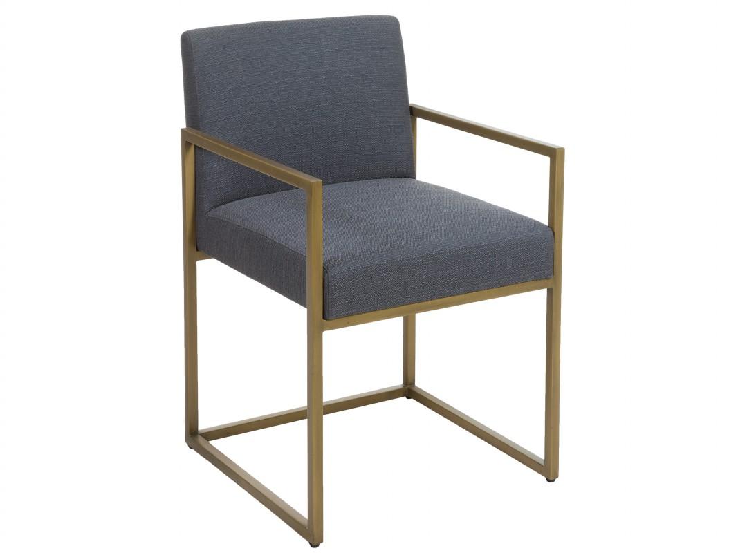Silla tapizada moderna gris y dorada con patas de laton for Sillas modernas para comedor tapizadas