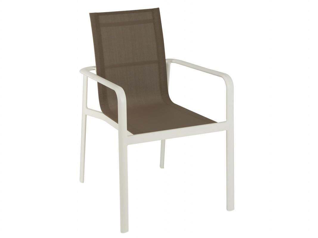 Silla terraza marr n y blanca de aluminio y poli ster - Sillas de plastico para terraza ...