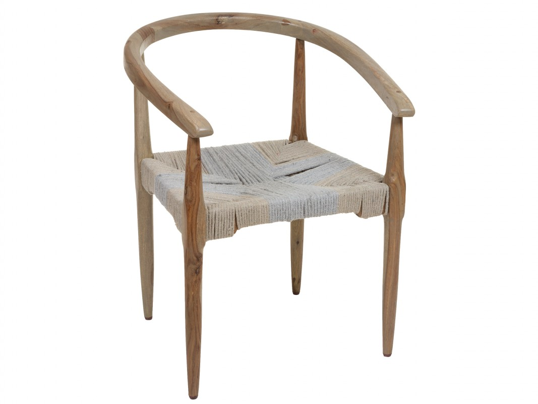 Silla wishbone madera y cuerda de algod n estilo vintage for Silla vintage reposabrazos