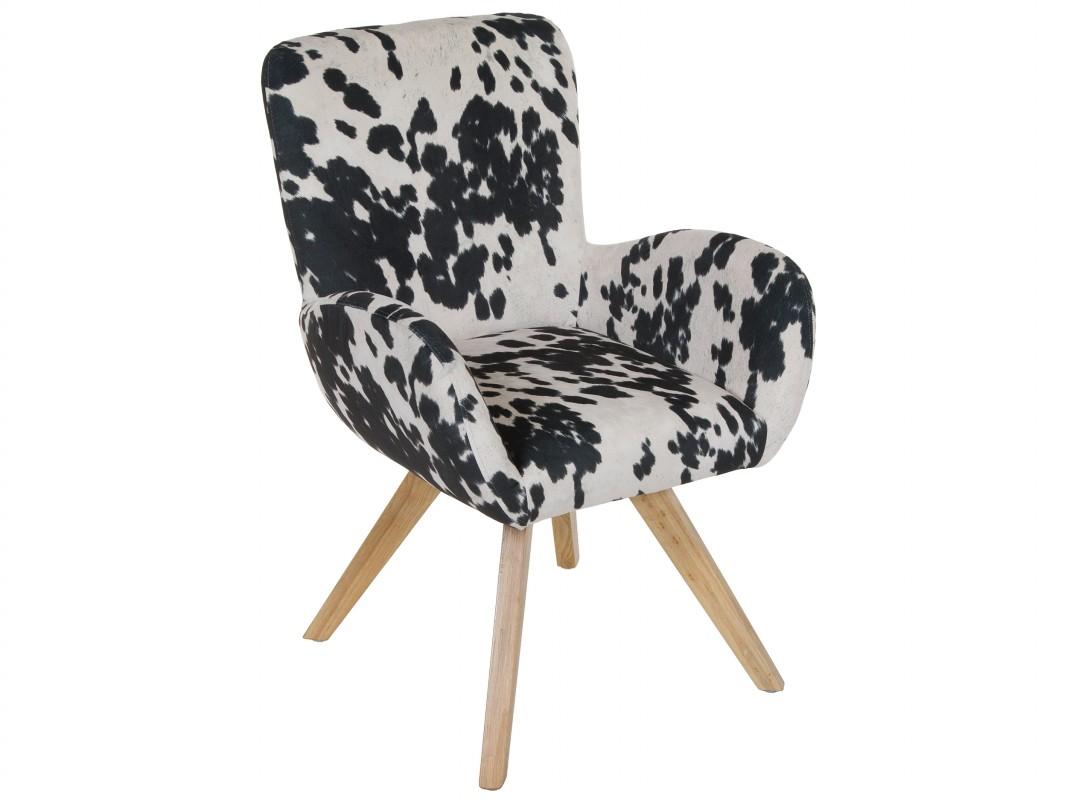 Silla estampado vaca de madera y poli ster blanco y negro for Sillas tapizadas estampadas