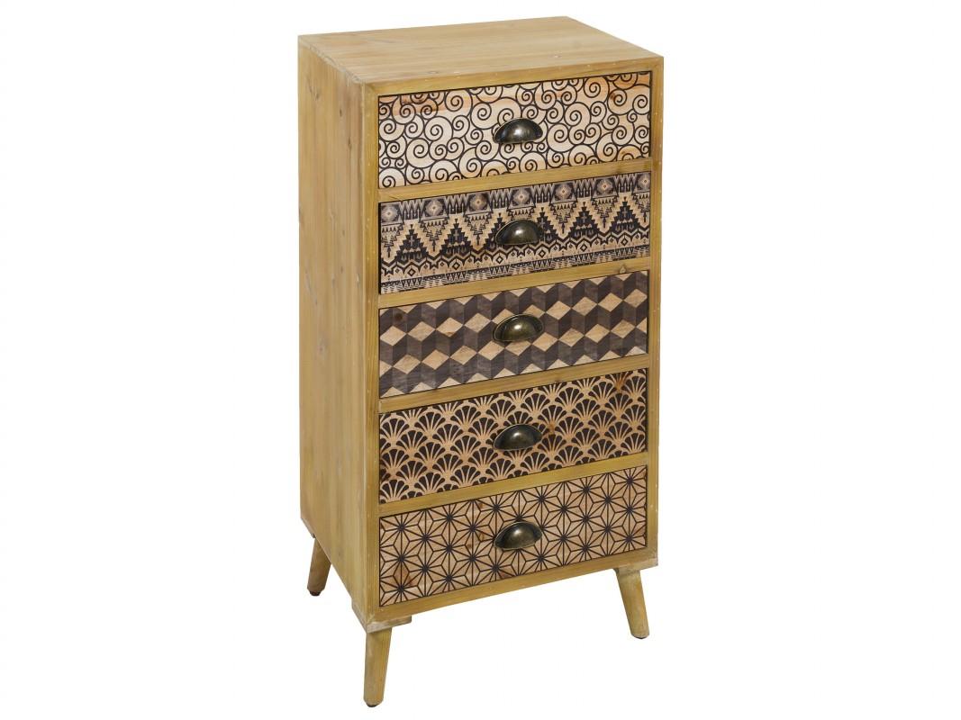 Cajonera hind de madera de pino y mdf con cajones decorados - Cajoneras estilo vintage ...