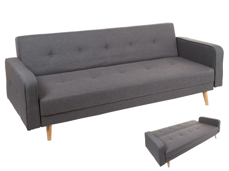 Sofa Cama Clik Clak De Tres Plazas Con Patas De Madera
