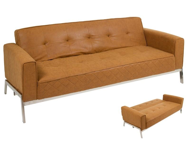 Sof cama vintage de polipiel marr n con patas de acero for Sofa cama polipiel