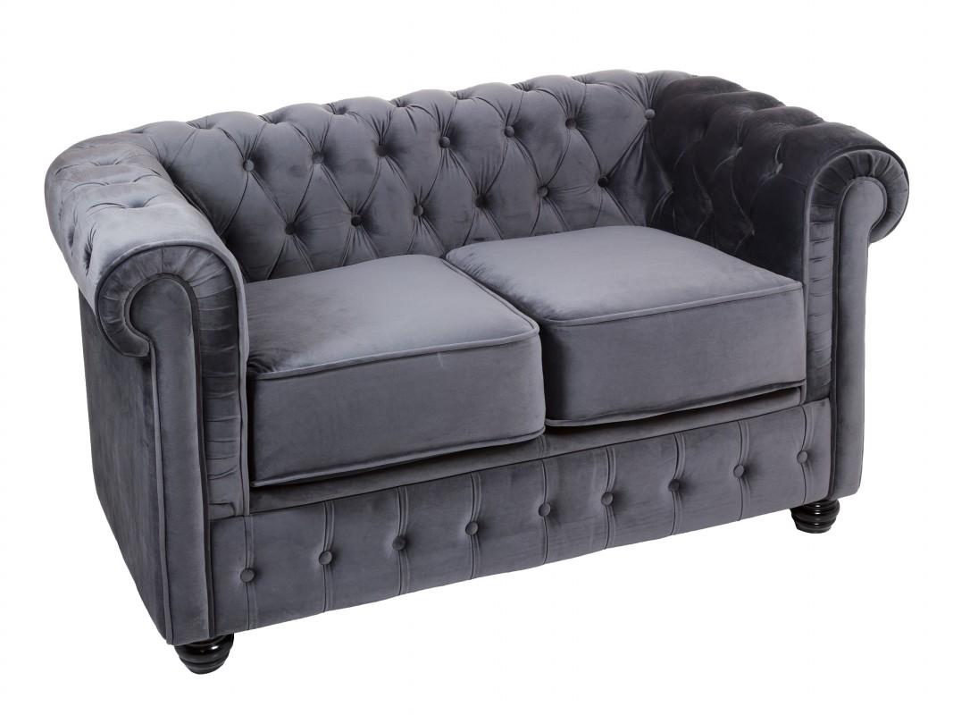 Sof chester de terciopelo 2 plazas en color marr n gris o azul - Sofa terciopelo azul ...