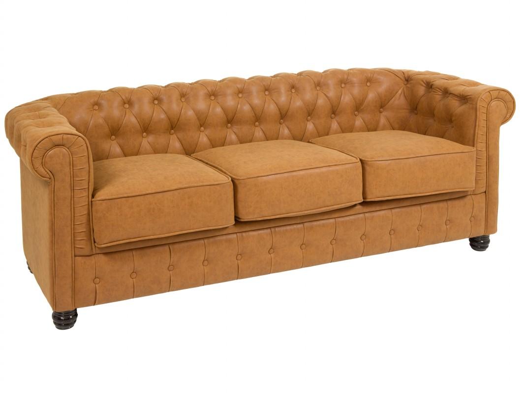 Sof chester 3 plazas color cuero - Sofa tipo chester ...