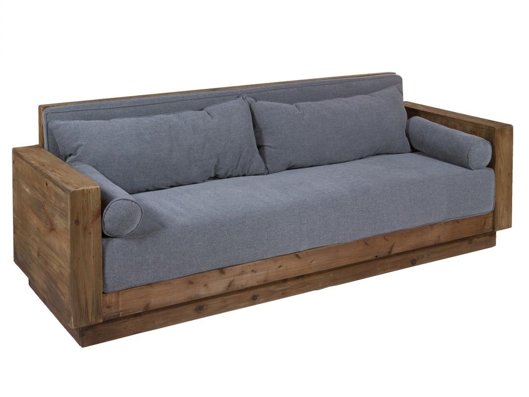 Sof r stico madera reciclada de pino 3 plazas sof - Sofa para tres ...