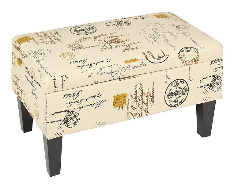 Taburete baúl vintage de madera y tela color crema