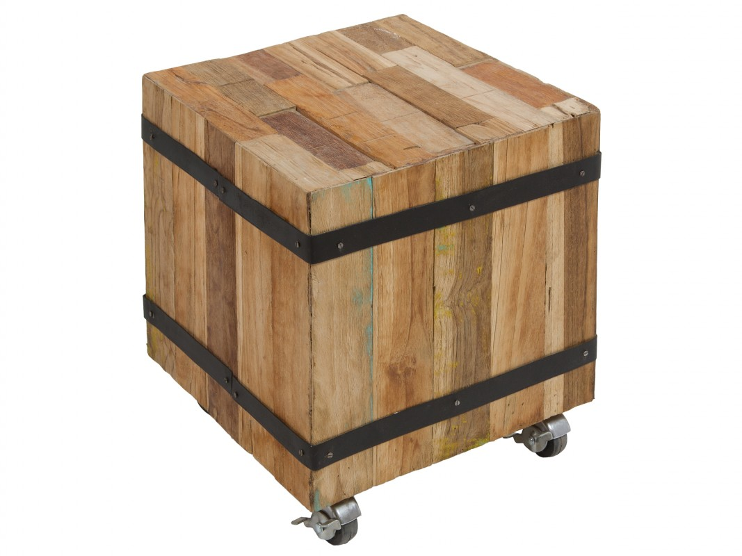 Taburete cubo de madera con ruedas estilo industrial - Taburete de madera ...