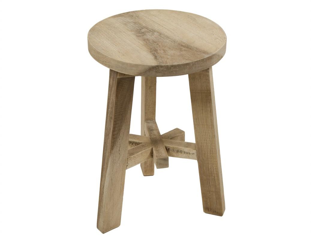 Taburete bajo redondo de madera agrietada en color natural - Taburete de madera ...