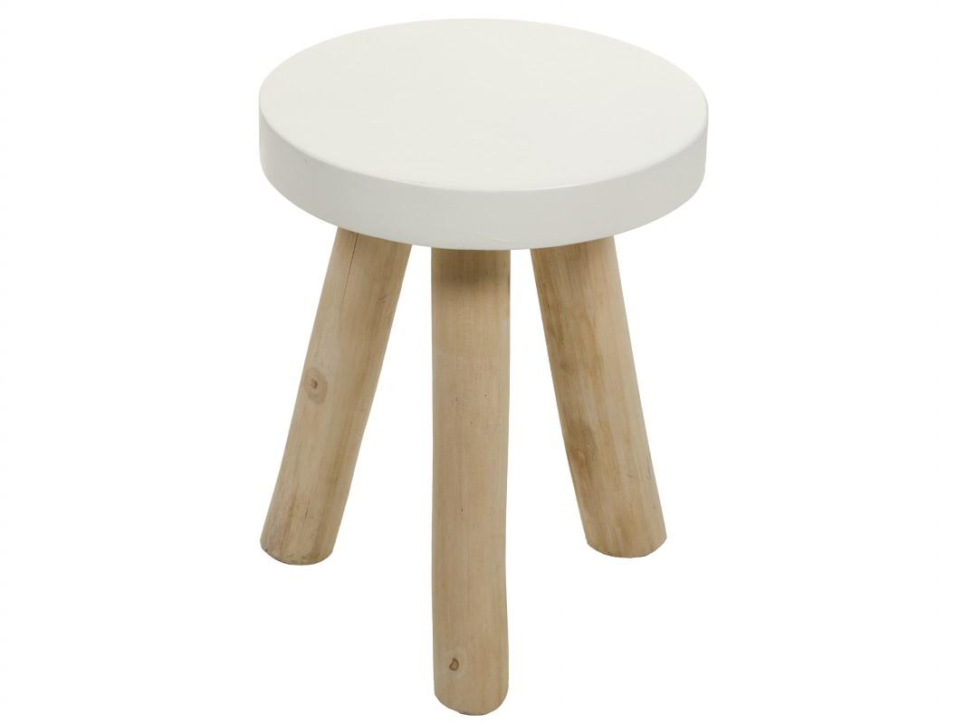 Taburete bajo blanco de madera estilo r stico for Taburetes de madera