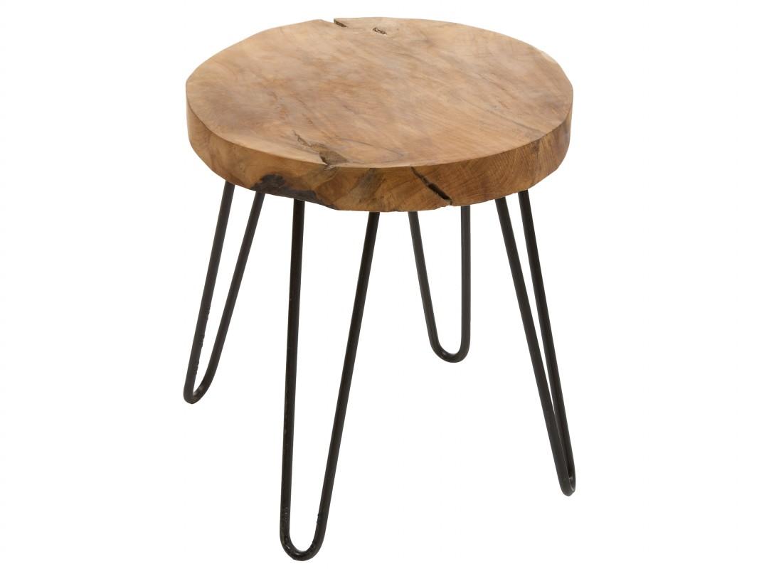 Taburete bajo de madera y metal redondo estilo r stico for Taburetes de madera