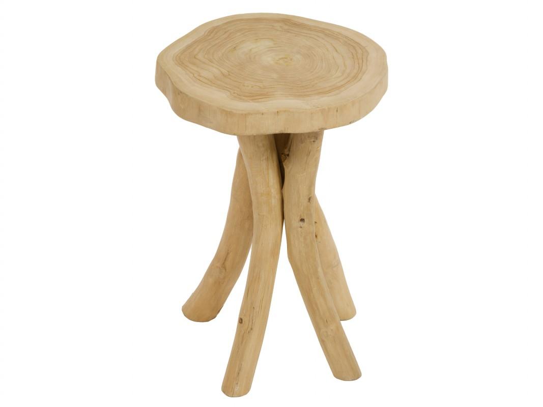 Taburete bajo r stico de madera de teca envejecida - Taburetes rusticos ...