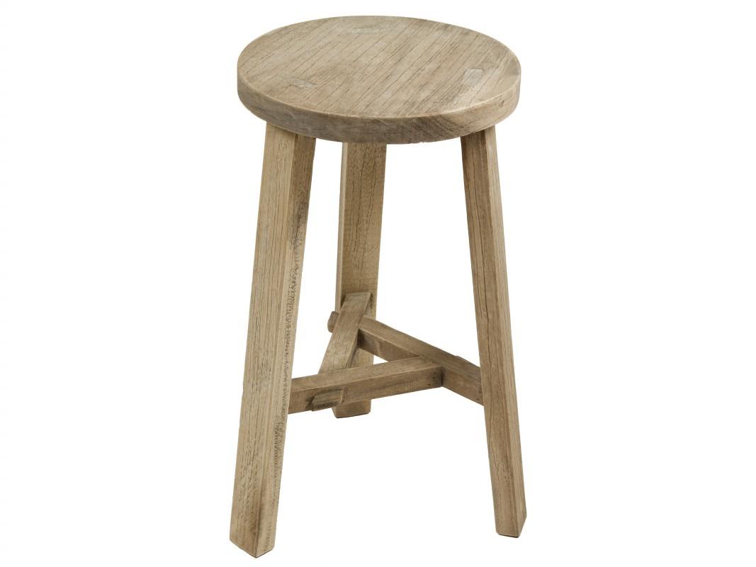 Taburete de madera circular estilo r stico con acabado for Taburetes de madera rusticos