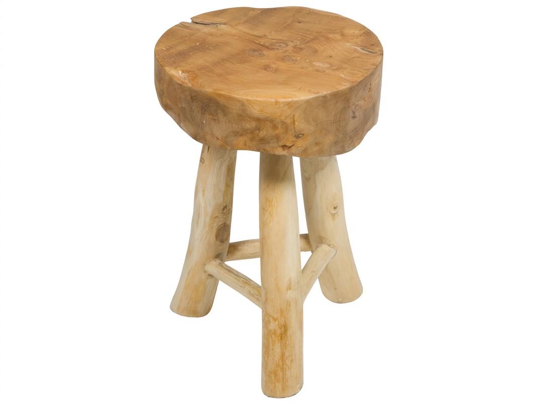 Taburete original redondo de estilo r stico y forma irregular for Antecomedores redondos madera