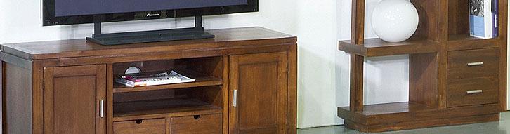 Muebles tv coloniales de madera en color nogal for Muebles coloniales malaga