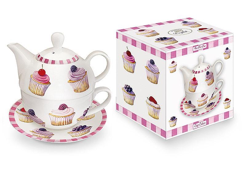 Taza tetera de porcelana con plato cupcakes menaje for Tazas de porcelana