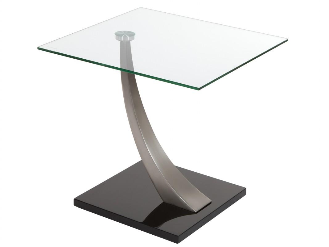 Mesa telefonera de cristal y acero estilo moderno for Mesas auxiliares de cristal