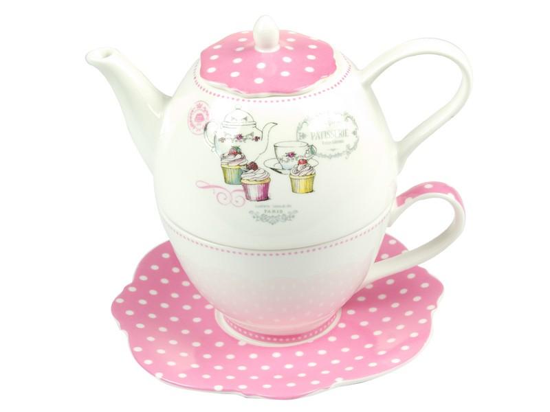Tetera con taza de porcelana blanca y rosa for Marcas de vajillas de porcelana
