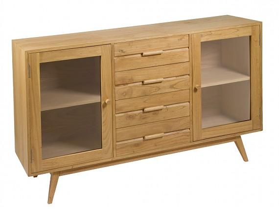 Muebles de madera natural color crudo con acabado envejecido