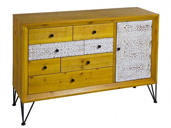 Consola shabby chic industrial vintage de madera y hierro for Consola estilo industrial