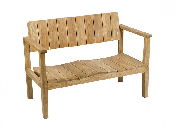 Mesas bajas abatibles vintage de madera de mindi decapada for Banco de madera exterior