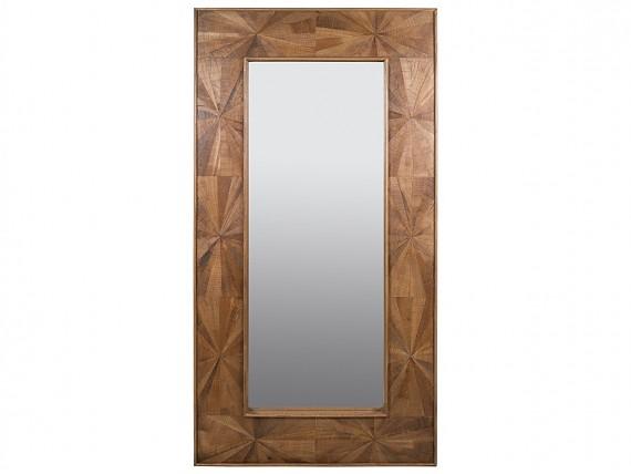 Mesa centro madera maciza estilo r stico con patas altas for Espejo grande madera