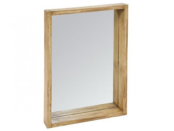 Mesa centro 100x100 vintage de madera decapada con 4 cajones for Espejo marco madera natural