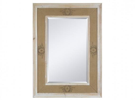 espejo de madera y lino x cm