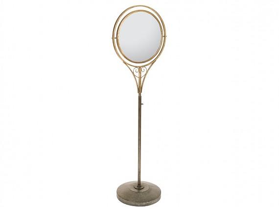 Espejo vintage ovalado de resina y madera color topo for Espejo ovalado de pie