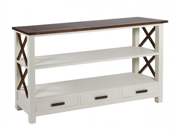 C moda n rdica de madera color blanco roto y nogal 5 cajones for Estanteria madera blanca