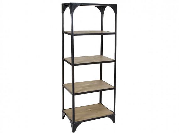 estantera auxiliar industrial de hierro y madera 60x40x168