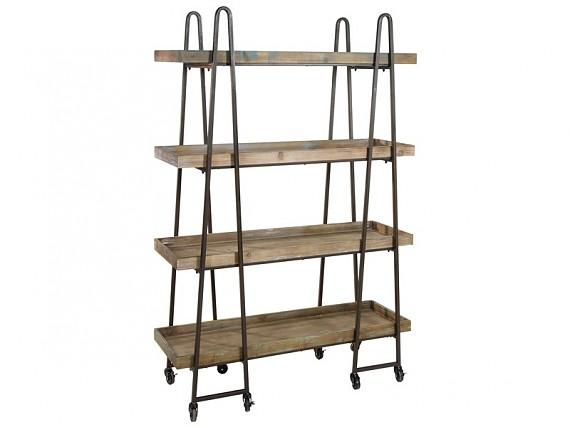 Perchero de metal y madera estilo vintage color cobre - Estanteria con ruedas ...