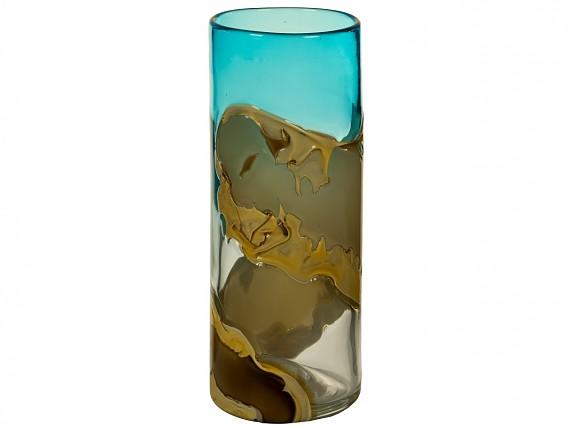 Mesa de centro 60x60 de hierro madera y tapa de cristal for Jarron cristal