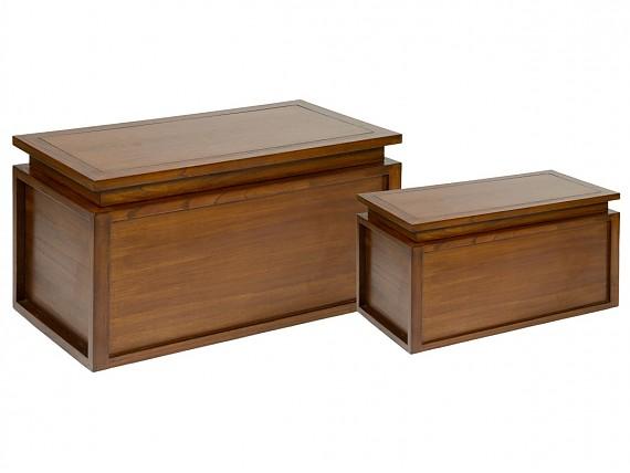 Banco baulero de madera con coj n bancos decorativos for Bancos para terrazas baratos